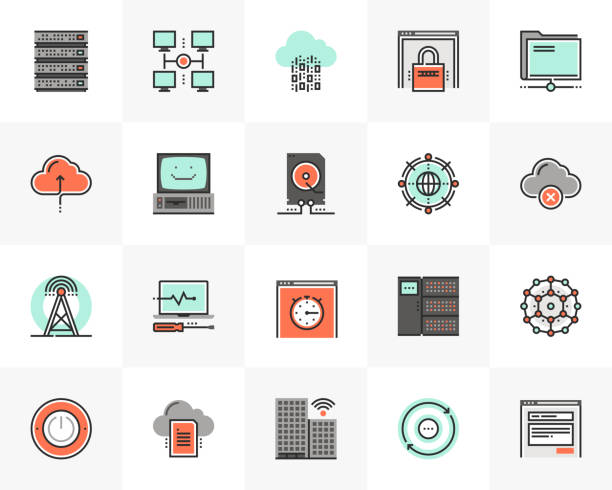 stockillustraties, clipart, cartoons en iconen met netwerktechnologie futuro volgende iconen pack - netwerkserver