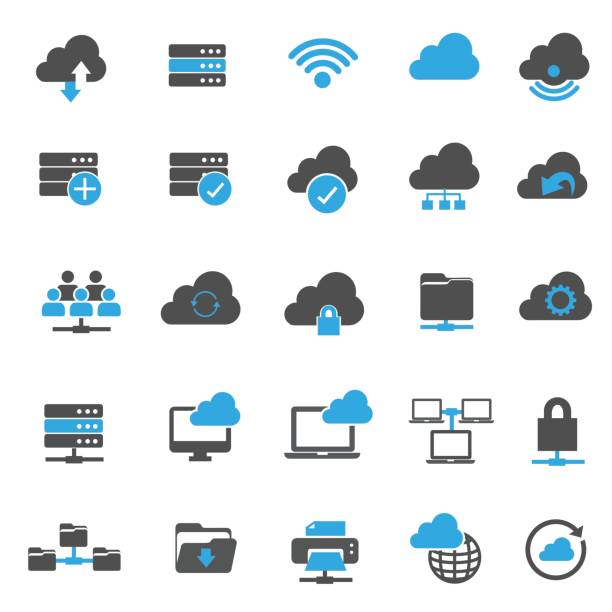 Network Technology icons vector art illustration