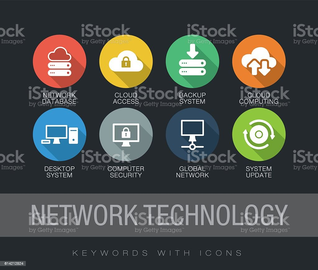 Network Technology keywords with icons vector art illustration