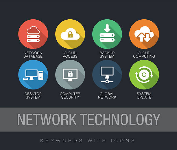 Network Technology keywords with icons Network Technology chart with keywords and icons. Flat design with long shadows update communication stock illustrations