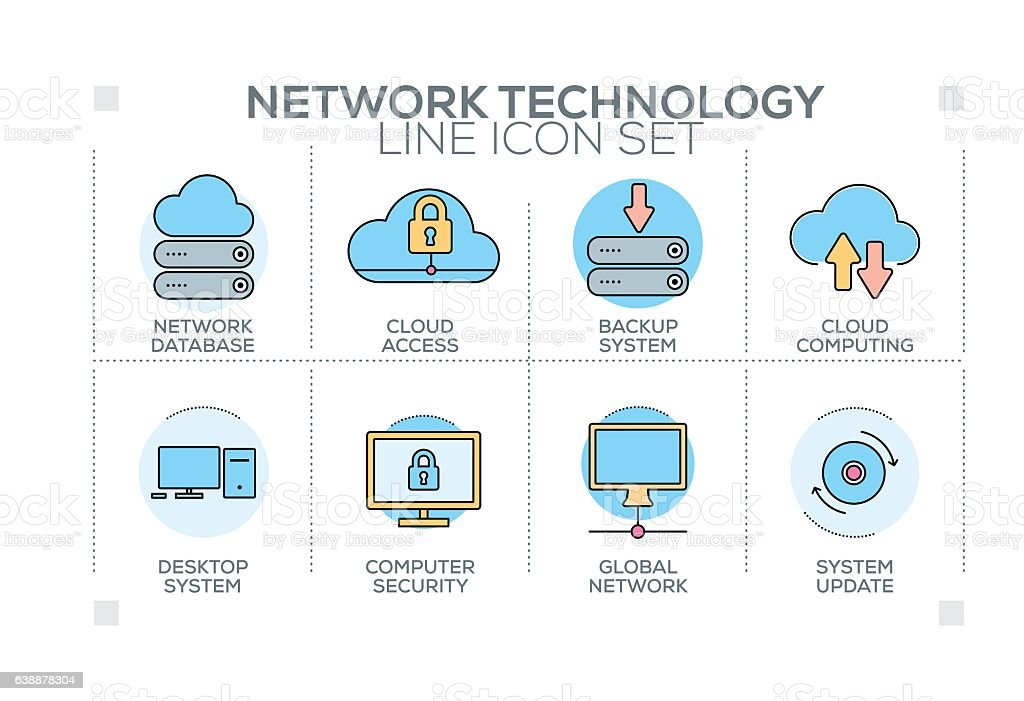 Network Technology keywords with line icons vector art illustration