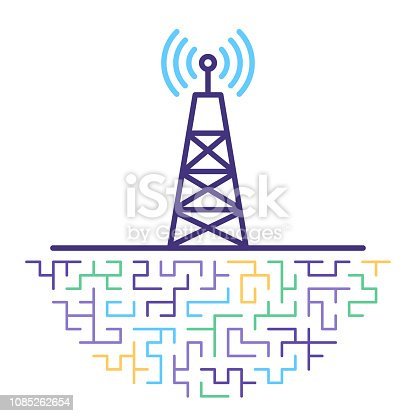 Line vector icon illustration of 5G network technology with abstract lines background.