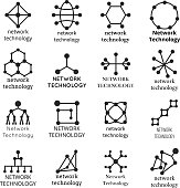 Network technology symbols. Data molecule icons. Set of connection structure. Vector illustration