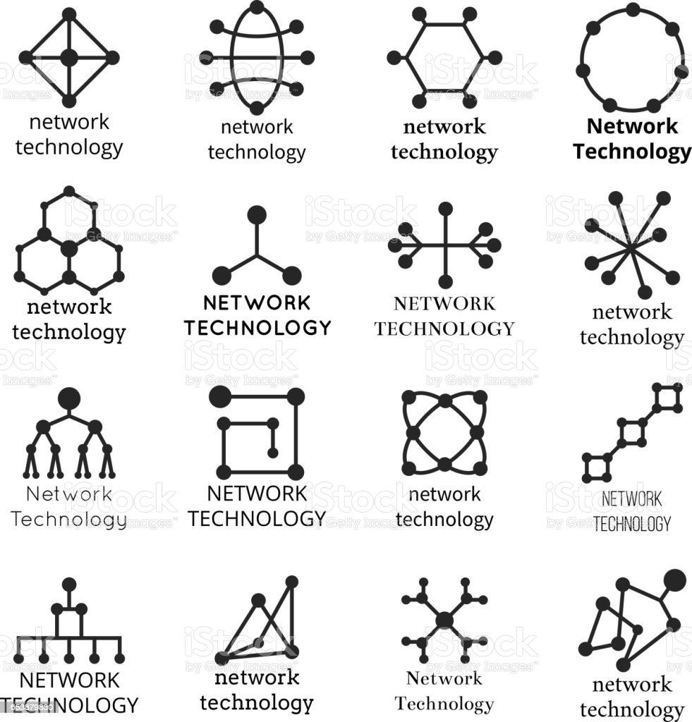 Símbolos de la tecnología de red. Iconos de la molécula de datos - ilustración de arte vectorial