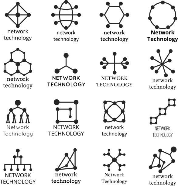 ilustraciones, imágenes clip art, dibujos animados e iconos de stock de símbolos de la tecnología de red. iconos de la molécula de datos - logotipos de investigación
