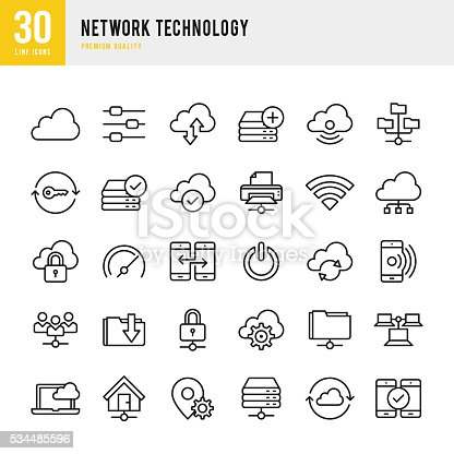 Network Technology set of 30 thin line vector icons.