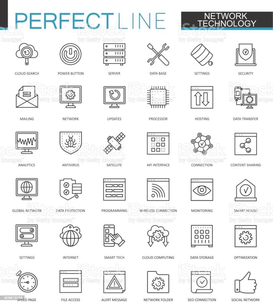 Network technology thin line web icons set. Big data outline stroke icons design. vector art illustration