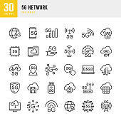 5G Network - thin line vector icon set. 30 linear icon. Pixel perfect. The set contains icons: 5G Network, Cloud Computing, Big Data, Internet of Things, Data Analysis, Cloud Downloading, Autonomous Technology.