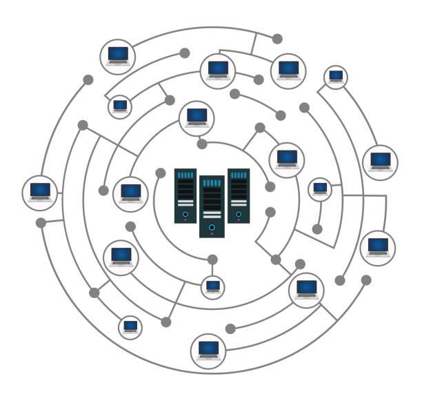 network - computer server room stock illustrations