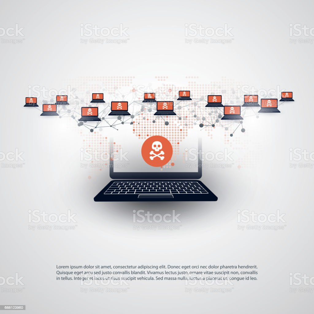 Network Vulnerability - IT Security Concept Design vector art illustration