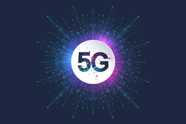 5G Netzwerk drahtlose Systeme und Internet-Vektor-Illustration. Kommunikationsnetz. Business-Konzept-Banner. Künstliche Intelligenz und Maschinelles Lernen Konzept Banner – Vektorgrafik