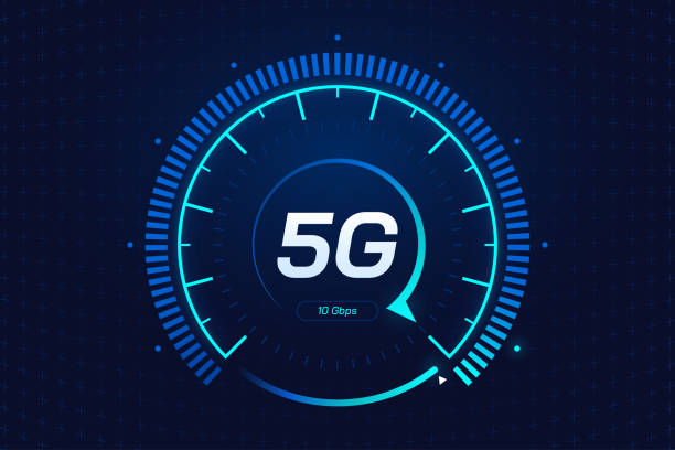 5G network wireless technology. Digital speed meter concept with 5G icon. High speed internet. Neon speedometer in futuristic style isolated on dark background. Car dashboard interface. Vector eps 10. 5G network wireless technology. Digital speed meter concept with 5G icon. High speed internet. Neon speedometer in futuristic style isolated on dark background. Car dashboard interface. Vector eps 10. dial stock illustrations