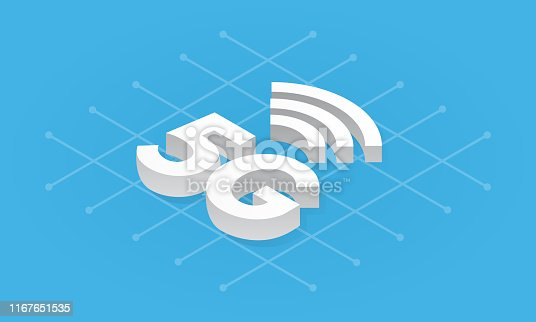 5G network wireless technology isometric vector illustration. Fifth generation internet, communication, fast connection concept. Web banner, infographic, website template