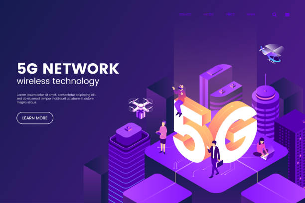 5G network wireless technology vector illustration. Isometric smart city with big letters 5g and tiny people. Modern city connected to global network. Internet in urban environment. Eps 10. vector art illustration