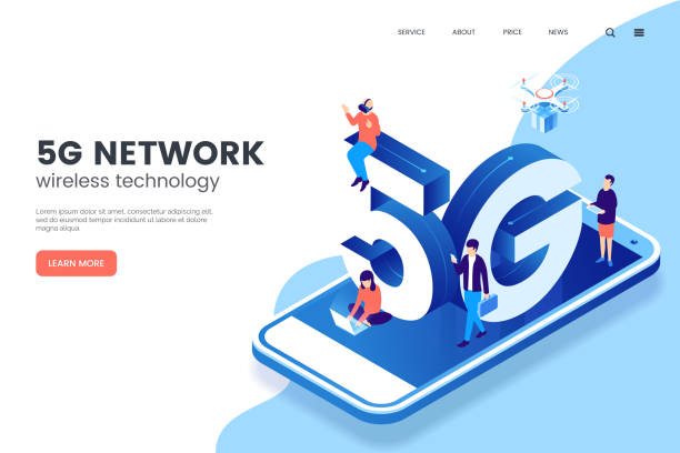 5G network wireless technology vector illustration. Isometric smartphone with big letters 5g and tiny people. High-speed mobile Internet. Using modern digital devices. Web page template. vector art illustration