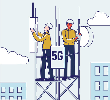 5G Network WirelessTechnology Concept. Workers on Repeater Tower Setting Up High-speed Mobile Internet. High Speed Internet for People Communication. Cartoon Linear Outline Flat Vector Illustration