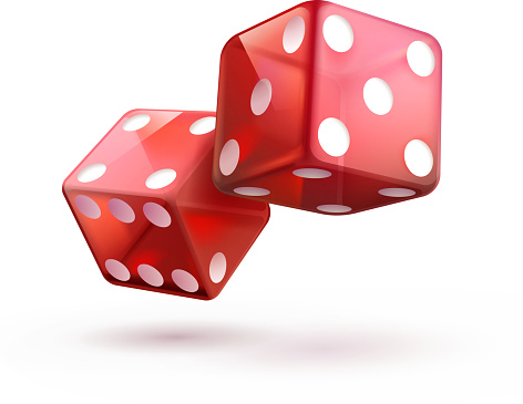 Vector illustration of shiny red dices on the white    background.