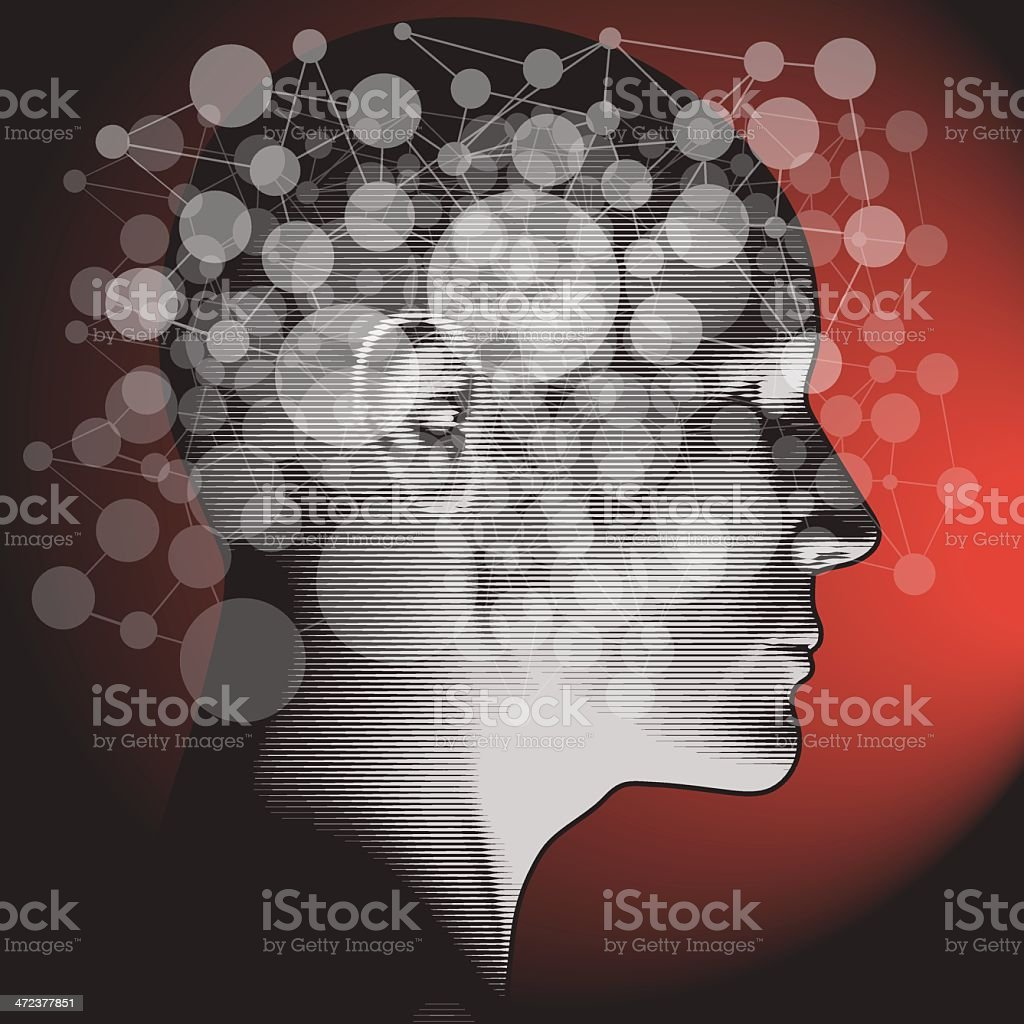 Networked/linked way of thinking- side profile view vector art illustration