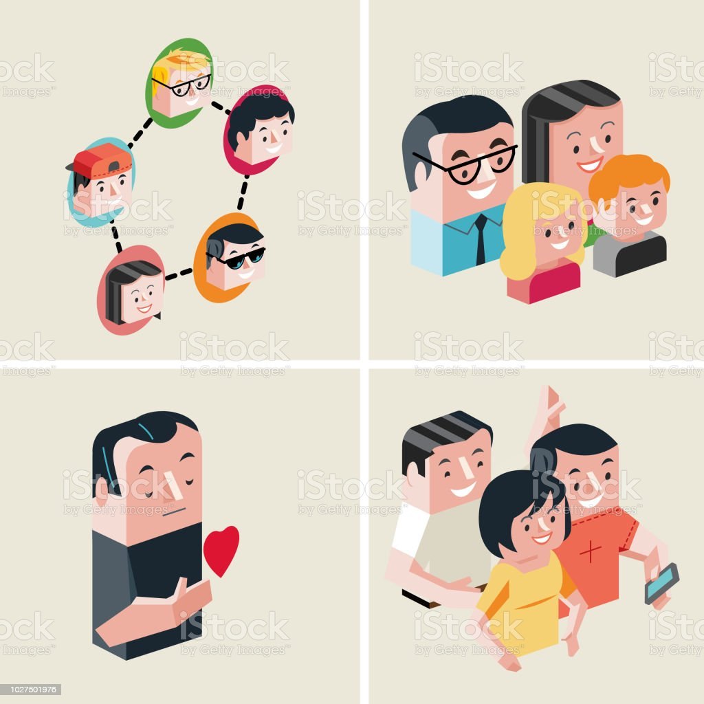 network-family-trusted-friends vector art illustration