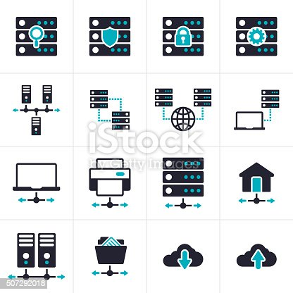 Networking connection and server database internet connectivity icons and symbol collection.