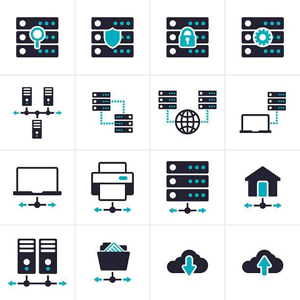 stockillustraties, clipart, cartoons en iconen met networking and server symbols and icons - netwerkserver