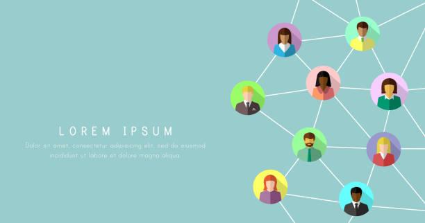 다채로운 플랫 디자인에 다양 한 사람들과 네트워킹 개념 - 수다 stock illustrations