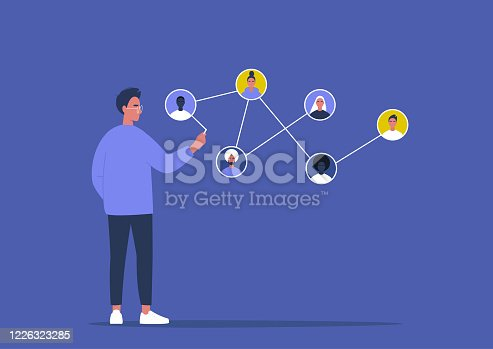 istock Networking concept, young male character connecting together different members of the system 1226323285