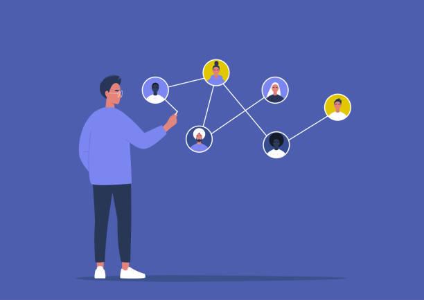 Het netwerkconcept, jong mannelijk karakter dat verschillende leden van het systeem verbindtvectorkunst illustratie