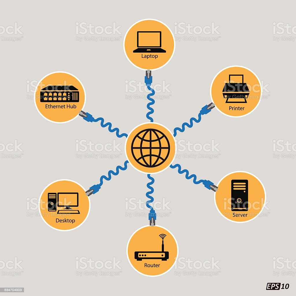 Networking, Connectivity, Internet or Communication vector art illustration