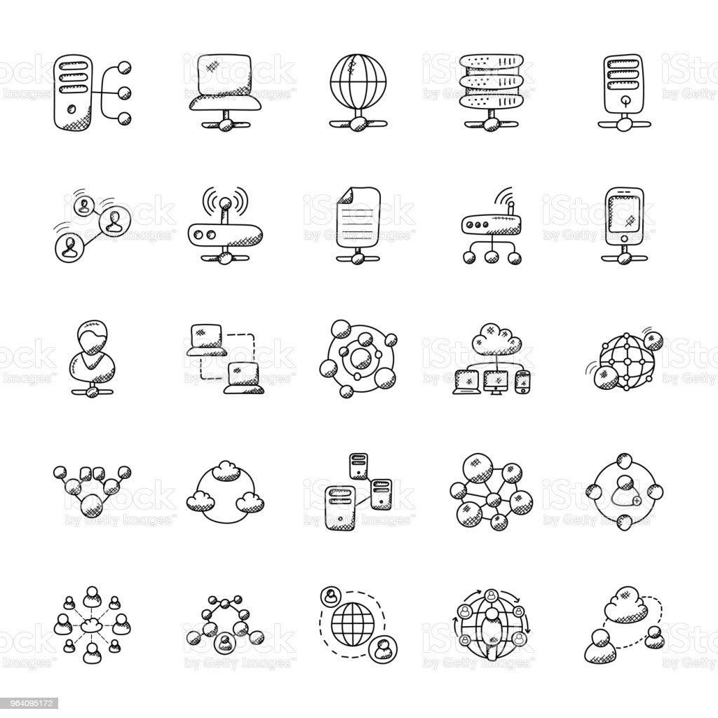 Networking Doodle Icons Collection - Royalty-free Big Data stock vector
