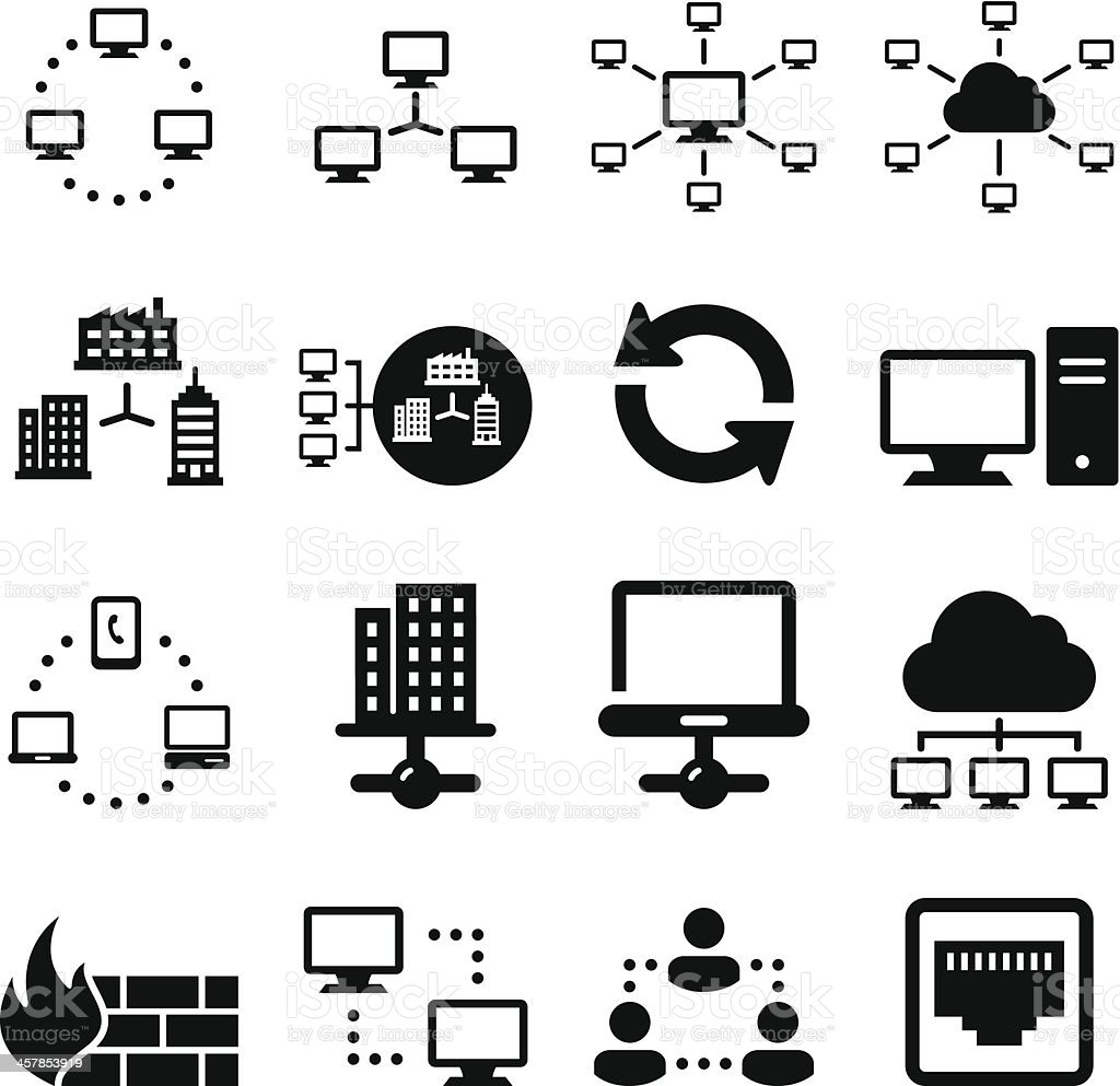 Networking Icons - Black Series vector art illustration