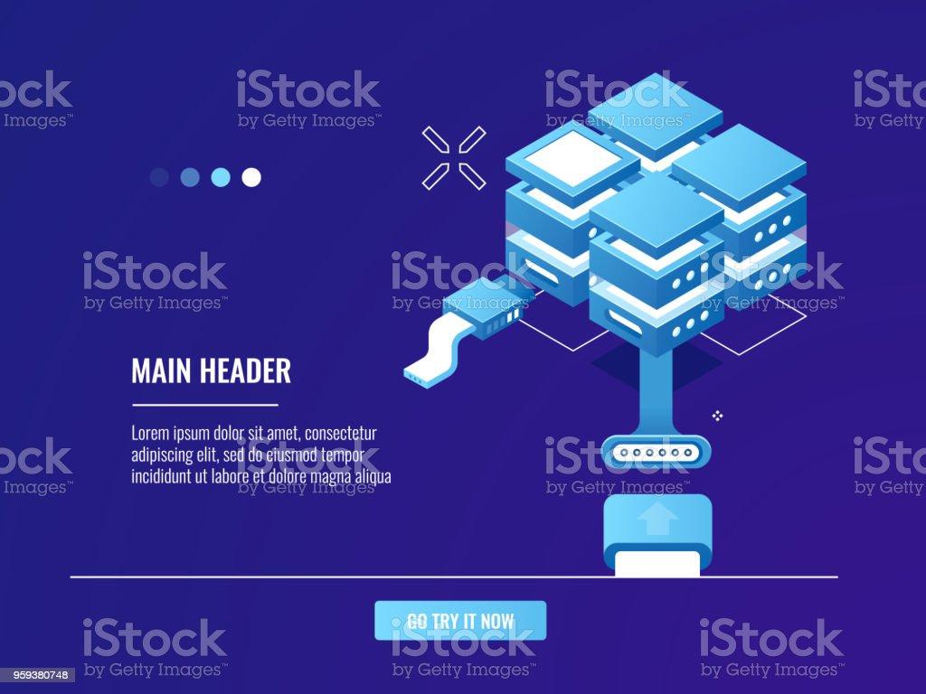 Vetores de Rede Conexão De Internet Servidor Rack De Quarto