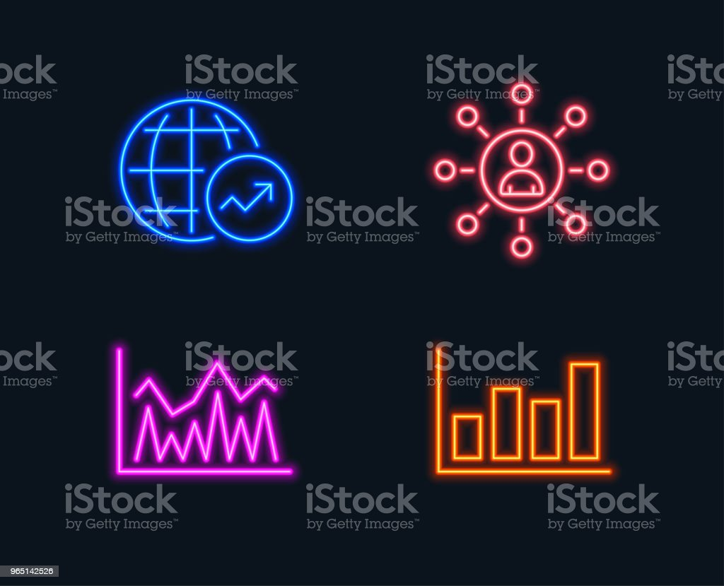 Networking, Investment and World statistics icons. Report diagram sign. royalty-free networking investment and world statistics icons report diagram sign stock vector art & more images of analyzing