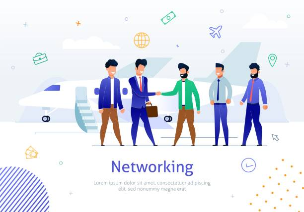 Networking with Foreign Partner Flat Vector Poster - illustrazione arte vettoriale
