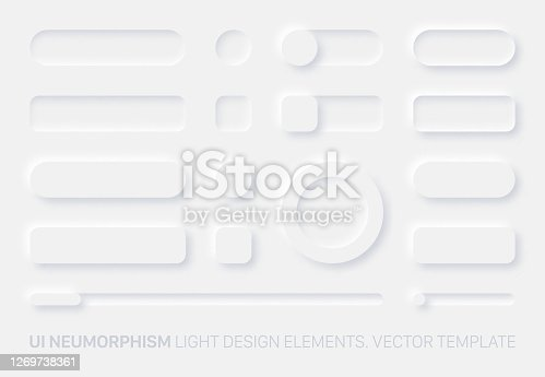 istock Neumorphic App Light UI Design Elements Set Vector 1269738361