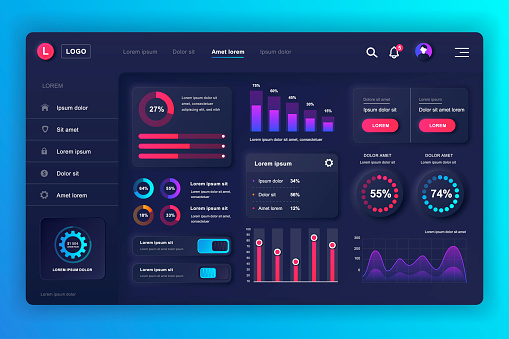 Neumorphic dashboard UI kit. Admin panel vector design template with infographic elements, HUD diagram, info graphics.