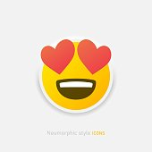 istock Neumorphic enamored emoji vector icon. Positive love emoticon with hearts in neumorphism style isolated on gray background Vector EPS 10 1341561355