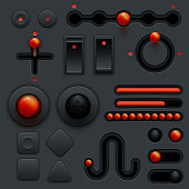 Neumorphic UI UX design elements set dark theme app trend mockup, minimalist user interfaces 3d shapes