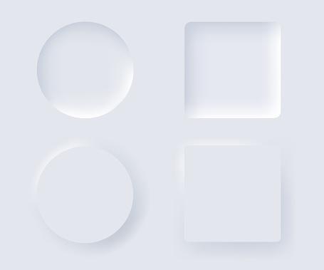 Neumorphism vector design element set. Trendy interface for applications.
