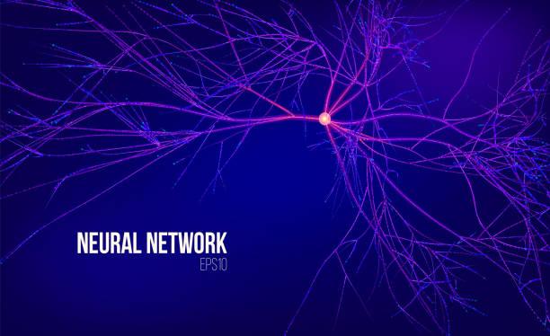 stockillustraties, clipart, cartoons en iconen met neuraal netwerk 3d abstract vectorillustratie. een gegevensstructuur met root. informatiestroom. kernel computing systeem - stroom activiteit