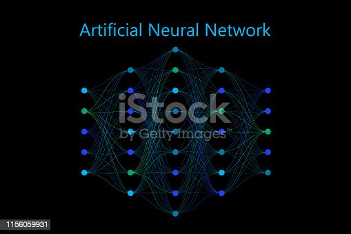 Neural network model with thin synapses and circle neurons connected in a full mesh. Vector illustration on black background. Applicable for web design, banners, presentations