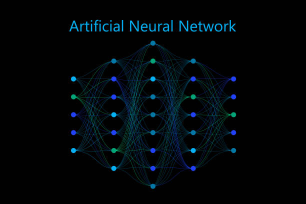 Neural network model with thin synapses between neurons Neural network model with thin synapses and circle neurons connected in a full mesh. Vector illustration on black background. Applicable for web design, banners, presentations synapse stock illustrations