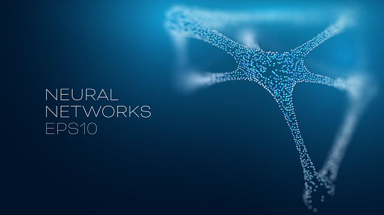 Neural network vector illustration. Futuristic artificial intelligence background