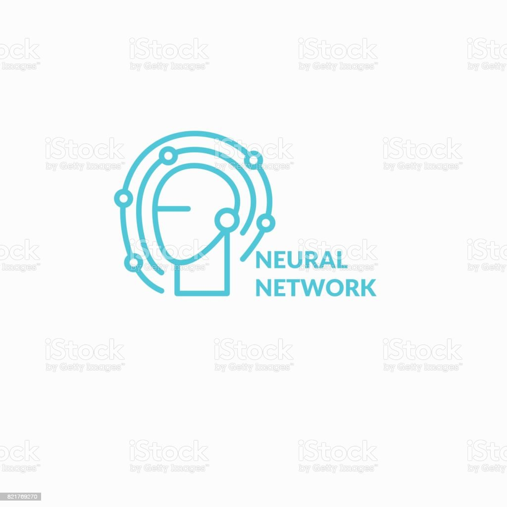 Neural networks, conceptual sign. The analytical system vector art illustration