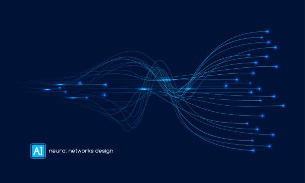 ilustrações, clipart, desenhos animados e ícones de projeto das redes neurais, conceito do ai, molde do vetor - escorrer
