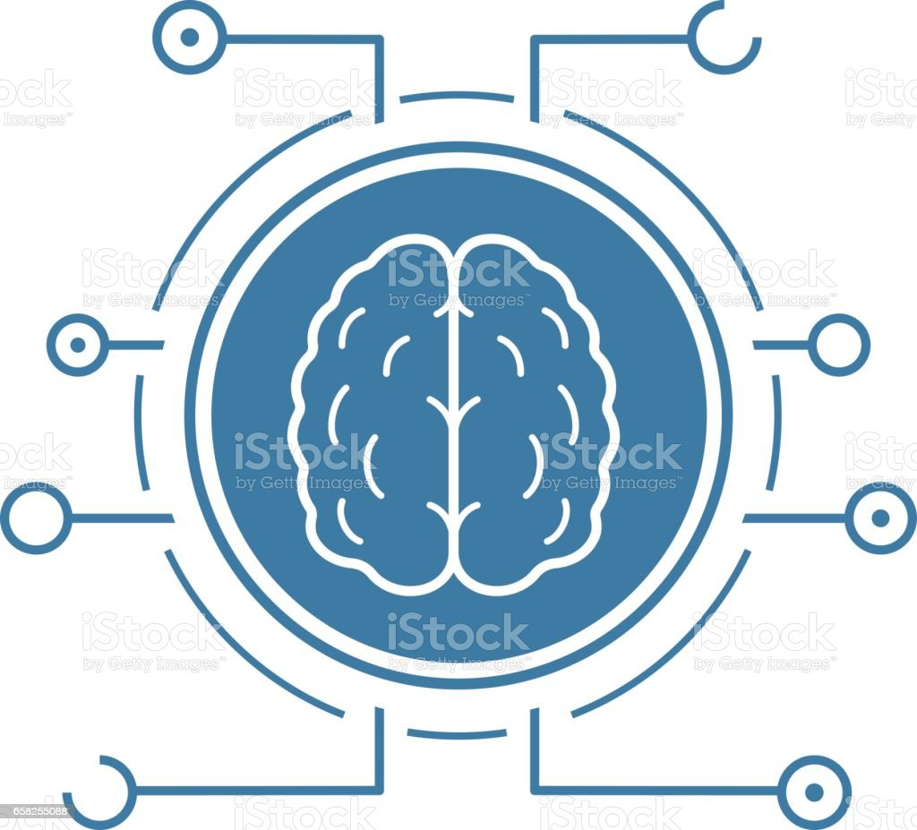 Neural networks icon vector art illustration