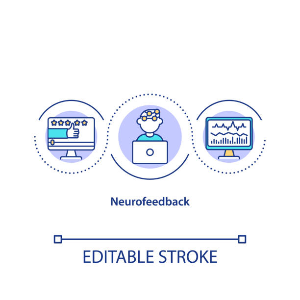 Neurofeedback concept icon Neurofeedback concept icon. Measuring brain activity, electroencephalography idea thin line illustration. Neurological test, neurotherapy. Vector isolated outline RGB color drawing. Editable stroke biofeedback stock illustrations