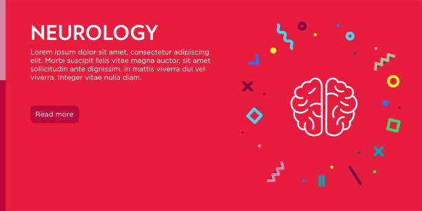 Neurology Concept. Geometric Pop Art and Retro Style Web Banner and Poster Concept with Human Brain Icon. Neurology Concept. Geometric Pop Art and Retro Style Web Banner and Poster Concept with Human Brain Icon. neurodegenerative disease stock illustrations
