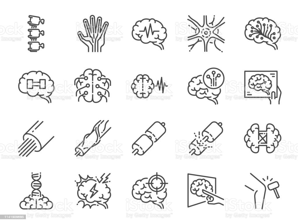 Neurology line icon set. Included icons as neurological, neurologist, brain, nervous system, nerves and more. Neurology line icon set. Included icons as neurological, neurologist, brain, nervous system, nerves and more. Analyzing stock vector