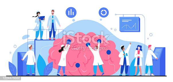 Neurology vector illustration. Cartoon tiny doctor people study human brain and nerve system, neurologist character group analyze brain anatomy in medical anatomical science research isolated on white